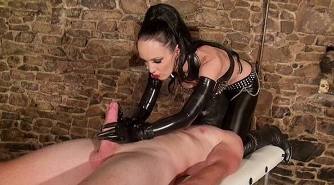 glove mansion Goddess latex handjob